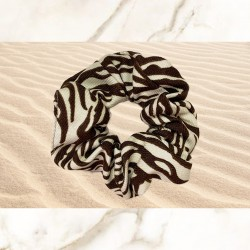 Zebra Brown Scrunchie